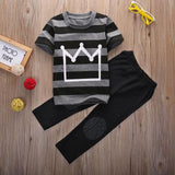 Cool Fashion Baby Boys Clothes New Kids Boy Crown Top Shirt Striped T-Shirt and Pant 2pcs Outfit Children Set