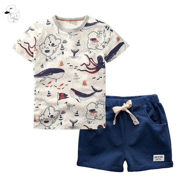 Children's Sets Boys T-Shirt and Pants Summer Casual Cartoon O-Neck Shorts Pullover Cotton 2pcs Kids Clothes Boy
