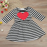 Fashion Toddler Kids Baby Girl Heart Striped Three Quarter Princess Dress Sundress Outfits Clothes Comfortable vestidos