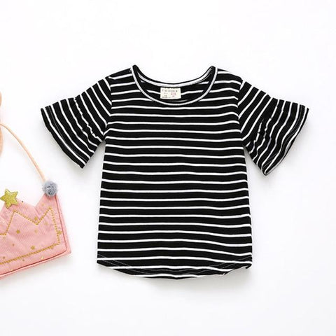 Butterfly Sleeve Casual T Shirt Striped O Neck Summer T-shirt Girl Kids Children Clothes Tee Shirts Tops Cute Toddler Baby