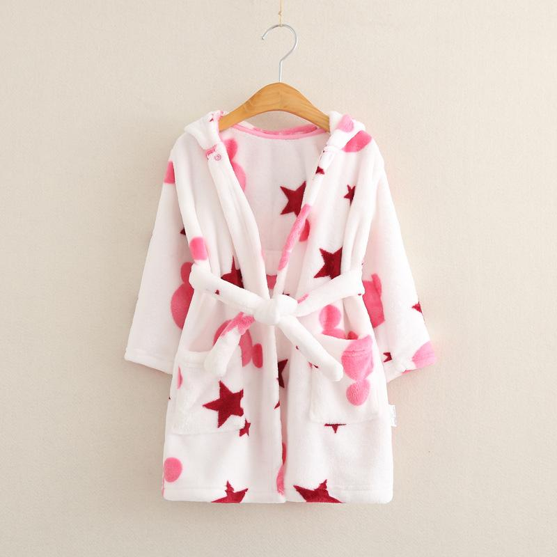 New Soft Hooded Animal Baby Bathrobe High Quality Cartoon Baby Coral Velvet Sleepwear Robes DS19