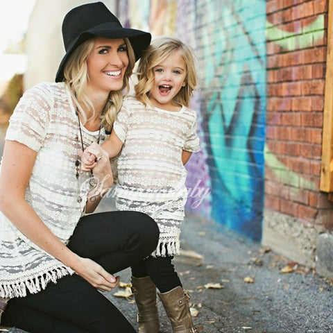 White White Lace Matching Mother Daughter Clothes Dress Mom and Daughter Dress Family Clothing with Vest Mommy and Me Clothes