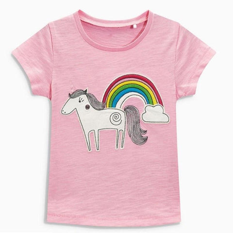 Little maven children summer baby girls clothes short sleeve pink rainbow t shirt Cotton brand horse print tee tops 50972