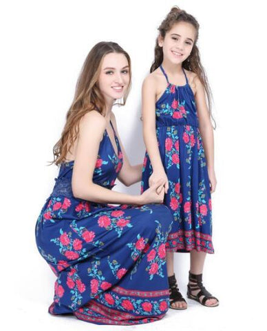 Mother Daughter Dresses Summer Mom Daughter Blue Print Dress Mommy and Me Clothes Family Look Women and Kids Girls Outfits