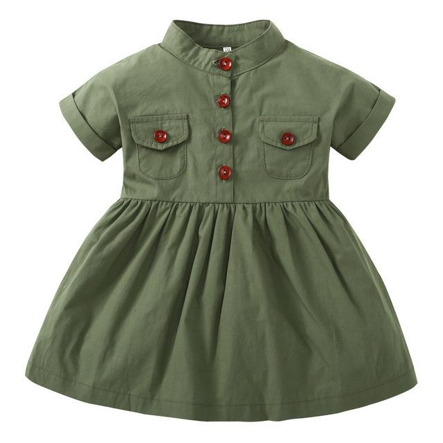 baby dress New Girls Dress Army Green Short Sleeved Summer Casual Princess Dresses Summer Children Clothing Baby Dress