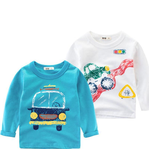 Spring Children Boys Long Sleeves T-Shirts Cotton Cartoon Car Children's Shirt Baby Clothes Boys Sweatshirt