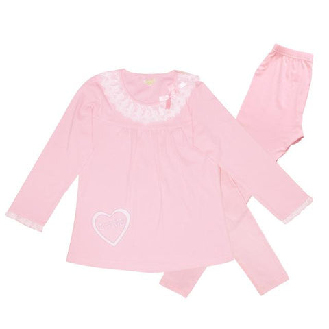 Teenage Girls Pajamas Set Children Sweet Lace Cotton Knitted Suit Long Sleeve Homewear Nightwear Sleepwear Girl Clothing Set New