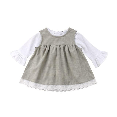 2 Pc Piper Pinafore Dress W/Blouse NB-24M