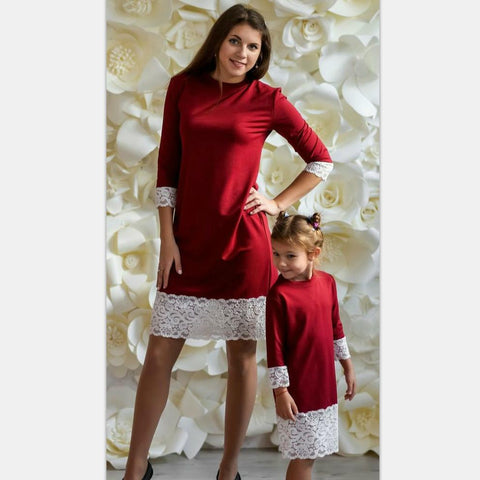 Mother Daughter Dresses Spring Winter Family Matching Outfits Red Lace Long Sleeve Family Look Matching Mom Daughter Clothes