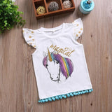 Cute Unicorn Baby Girl Cotton Short Sleeve T-shirt Tops Matching Outfits Summer Children Clothing