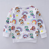 Baby Girls Floral Cartoon T shirts Kids Long Sleeve Autumn T shirt with Printed Cat Dogs Girls Novelty T shirt Kids Clothing