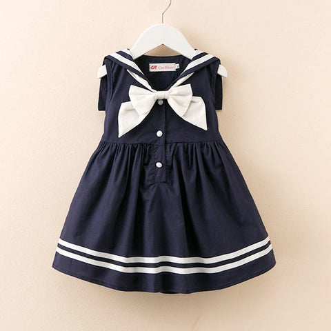 Preppy Style Infant Girl Dress Baby Girls Clothes Cotton Baby Girl Christening Gowns Baby Dress White 0-8 Yrs Navy White