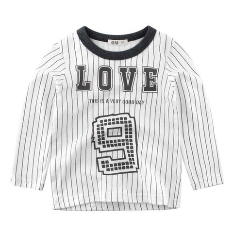 Autumn Winter Toddler Boys Girls Letters T-Shirt Children Long Sleeve Pullover Shirts Tops for Boy Kid Outfits Clothes
