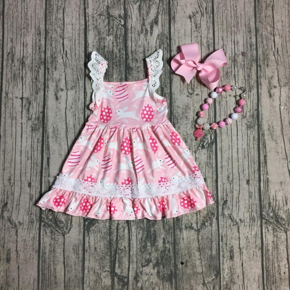 Easter theme girls boutique dress white lace pink bunny egg Easter sleeveless dress with matching accessories