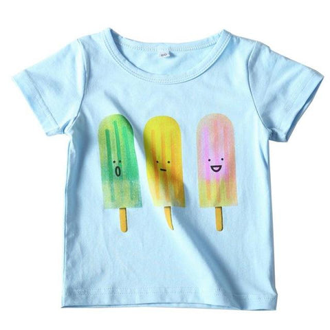T-shirt girls kids summer Toddler Kids Baby Boys Girls Clothes Short Sleeve Cartoon Ice Cream Pattern Tops T-Shirt Blouse   M22