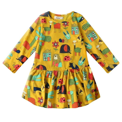 Spring Girl Dress Casual Cartoon Children Dress Cotton Long Sleeve Kids Dresses for Girls Fashion Kids Clothes