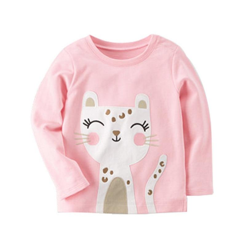 Girl Cat Fashion girl Tees Tops Long sleeve cute cat print fashion cotton children t shirts hot selling kids Girls clothing