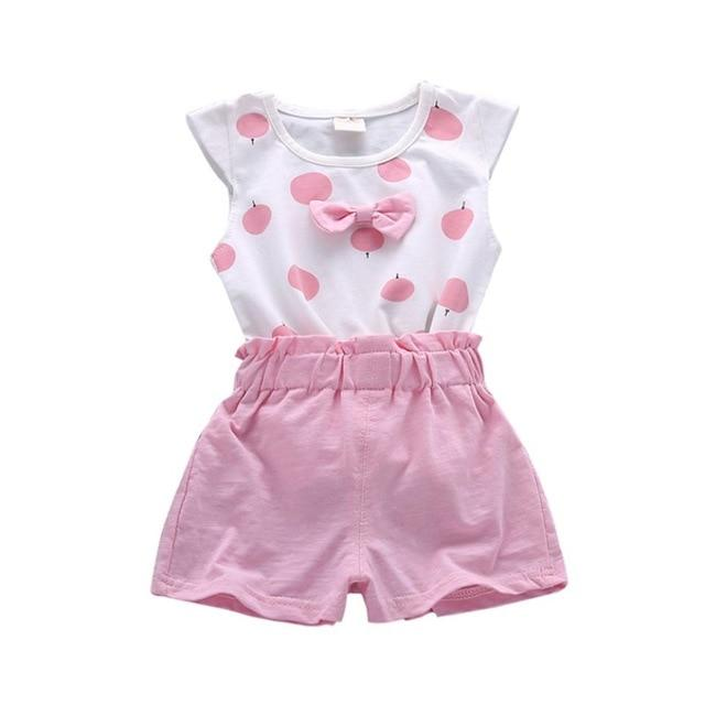 Toddler Baby Girls Clothing Sets Print Bowknot 2pcs Girls Summer Clothes Set Kids Casual Suit Tracksuit Sweatshirt