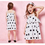 Toddler Girl Max-Fabric Sleeveless Dress with Flounce at Top Girls Polka Dot Dresses Cotton Lined Children Kids Dress