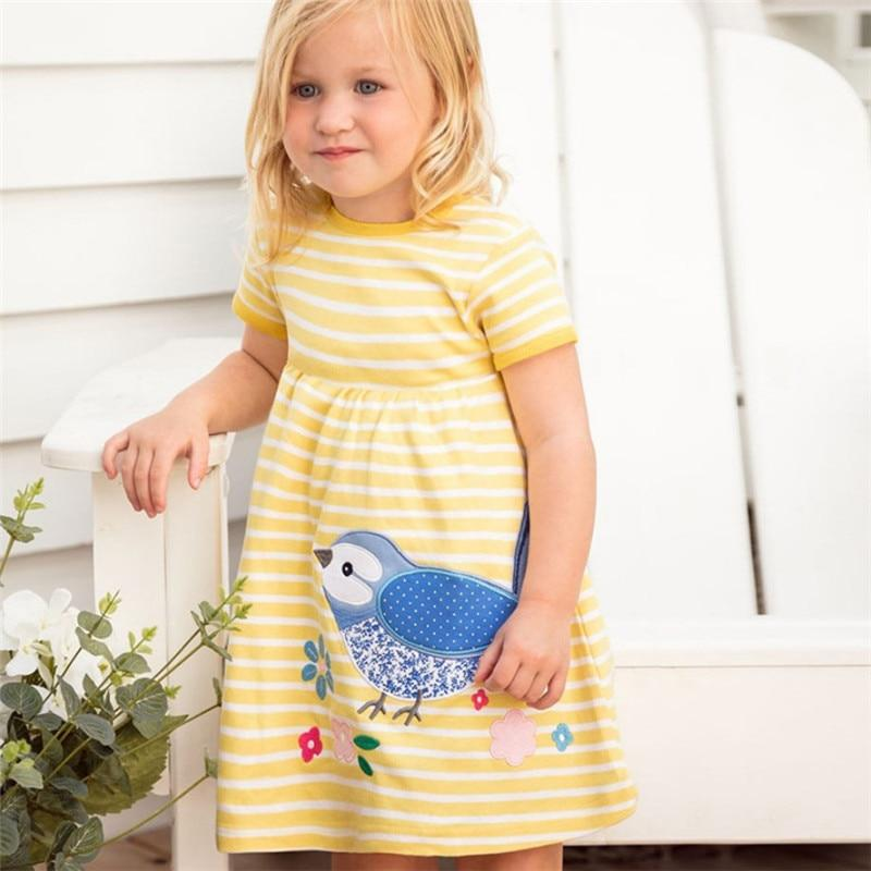 Princess Applique Dresses Baby Girls Clothing Summer Cotton Stripe Bird Girl Dresses Party School Children frock tutu dress girl