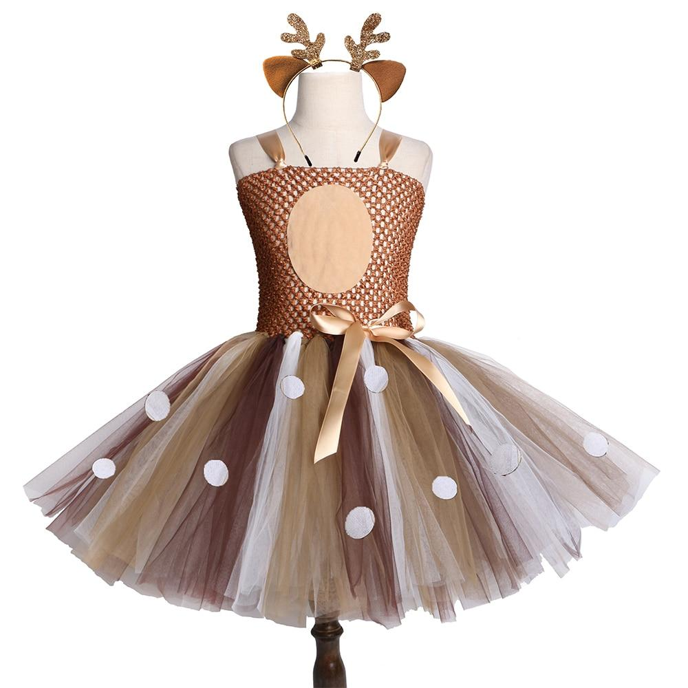 Brown Deer Girls Tutu Dress Halloween Christmas Deer Costume Kids Tutu Dresses for Girls Birthday Party Dress Children Clothing