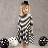 Boutique Children Girl Dress Casual Girl's Striped Dress with Pocket for 2-6 Years Old Girl's Clothing
