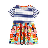 Kids Dress Baby Girls Summer Dress Roupa Infantil Short Sleeve Cartoon Cotton Dresses Children Girls Patchwork Dress