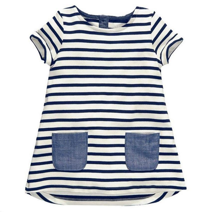 summer kids  girl dresses  Summer Baby Girls Toddler Sundress Stripe Casual Dresses Outfit Clothes Dress