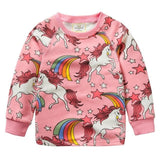 Autumn Winter Girls T Shirt Rainbow Pony Print Long Sleeve Baby Girls Clothes Brand Cute Girl Shirt Unicorn Kids Party Clothing