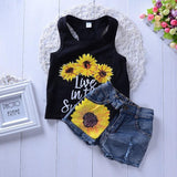 Selling Child Clothes Set Summer Fashion Letter Print Tops+Sunflower Jeans 2pcs Suit Kid Clothing New Arrival