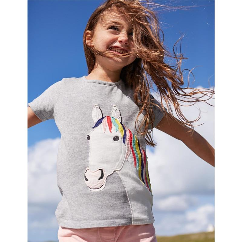 jumping meters Applique Girls T shirts Bunny Baby Tees Top Summer Fashion design kids clothing t shirts cotton animal Tees
