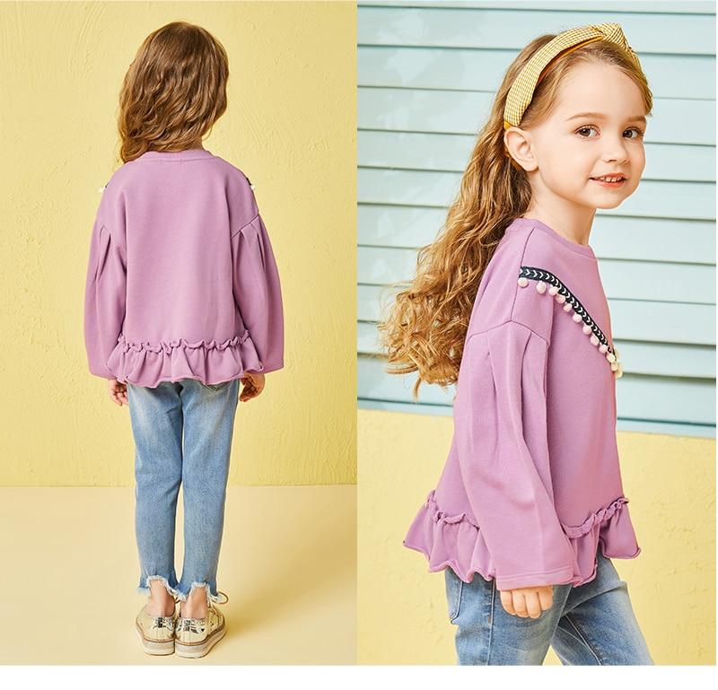 Toddler Girl Puff-Sleeved Sweatshirt with Ruffled Hem Children Kids Ribbed Crewneck Sweatshirt Top with Mini Pom Poms