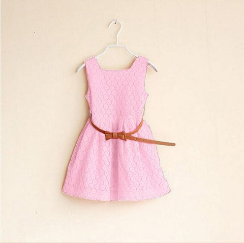 Summer Lace Vest Girls Dress Baby Girl Princess Dress 2-8 Years Children Clothes Kids Party Clothing For Girls Free Belt