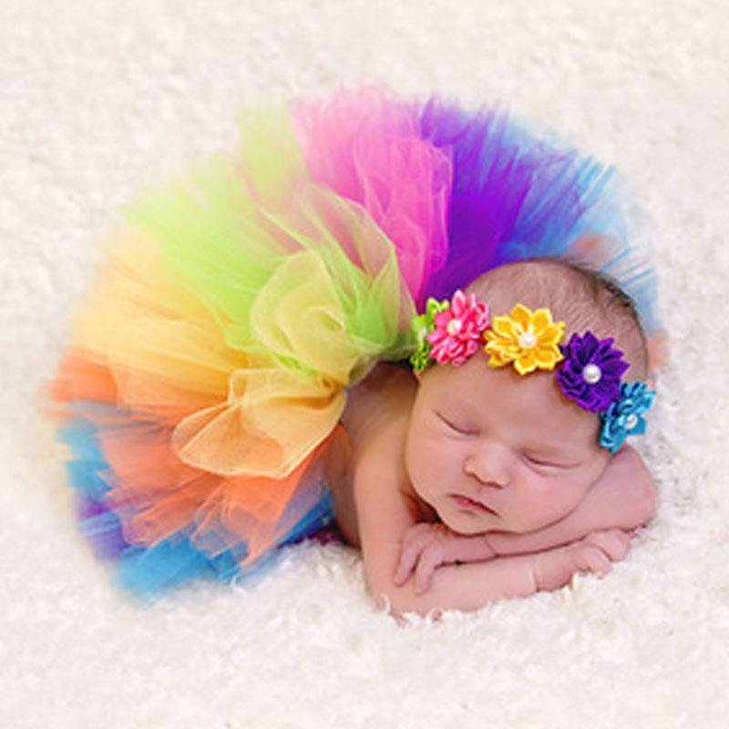 Rainbow Tutu Skirt + Headband Newborn Photo Outfits Kids Now Apparel