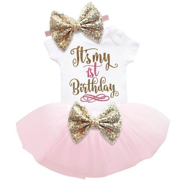 Romper+Tutu Skirt+Headband First Birthday Dress Outfits Kids Now Apparel