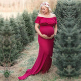 Ruffle Slash Neckline Long Pregnancy Photoshoot Dresses Kids Now Apparel