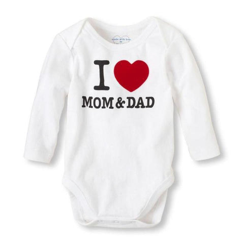 Unisex Newborn Baby Clothes I love Mom And Dad Kids Now Apparel