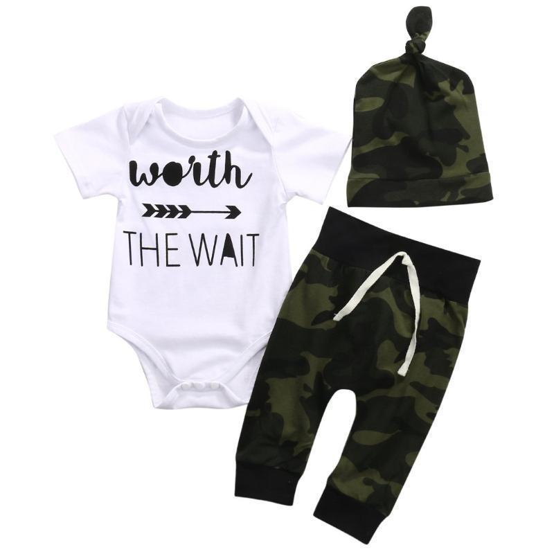 Unisex Romper+Camouflage Pants+Hat Infant Clothes Kids Now Apparel