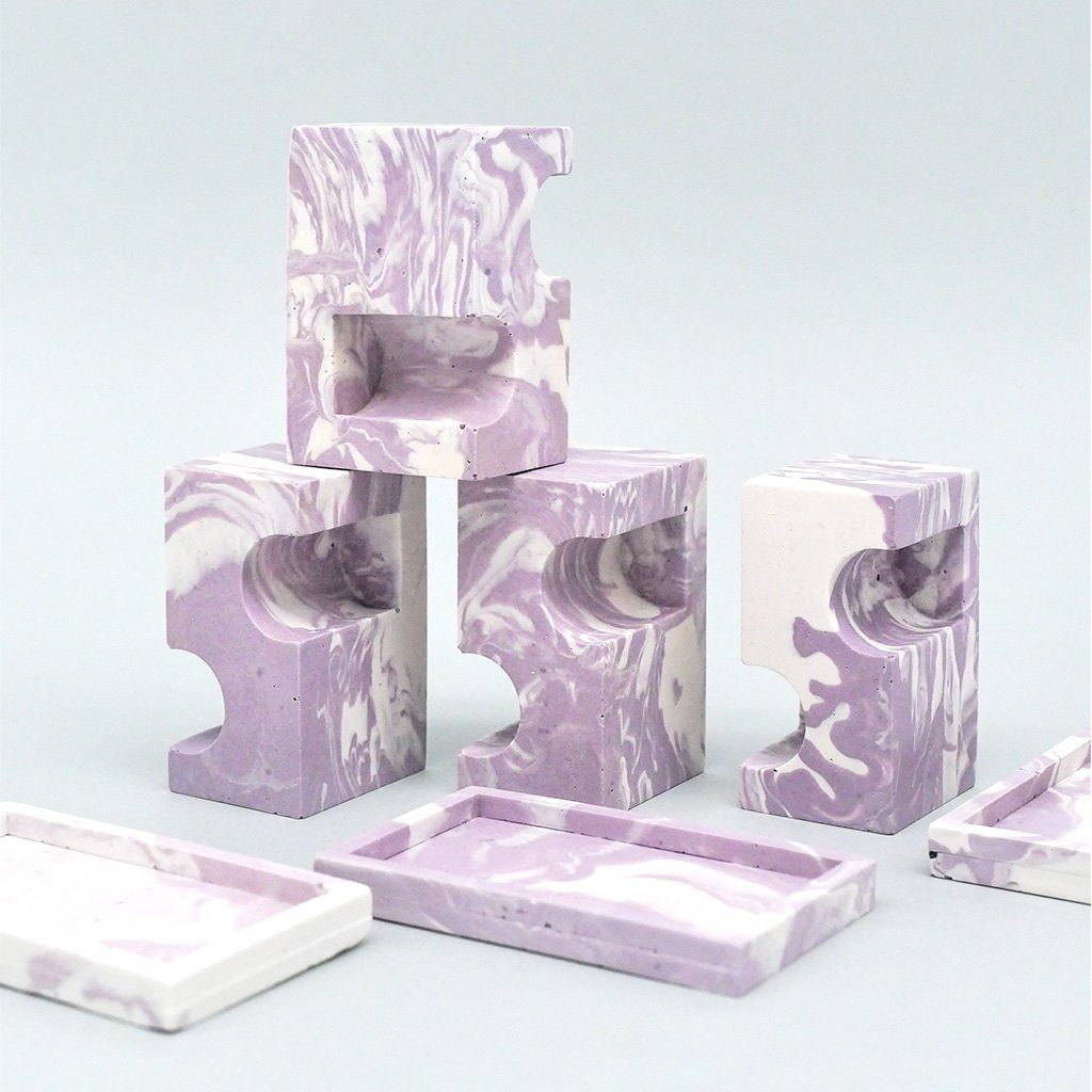 Marbled double candle holder lilac Candle holder Rekha Maker
