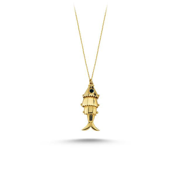 Maisonirem 14k solid gold Moving Fish Pendant Necklace Fine jewelry Gold