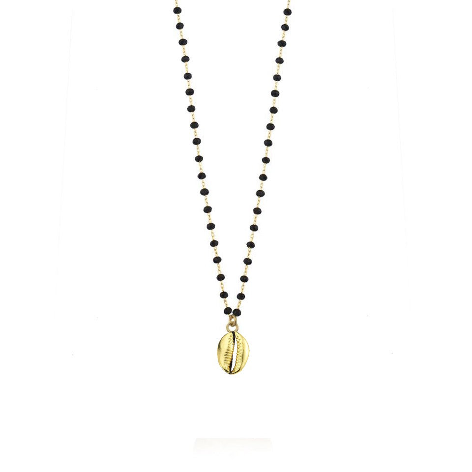 Maisonirem Black Bead Shell Gold Necklace Necklaces
