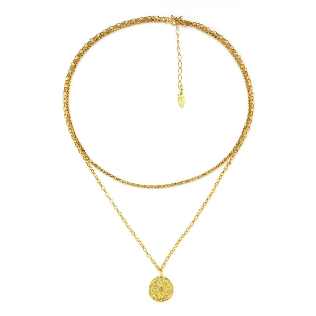 Maisonirem Double Chain Coin Odin Necklaces