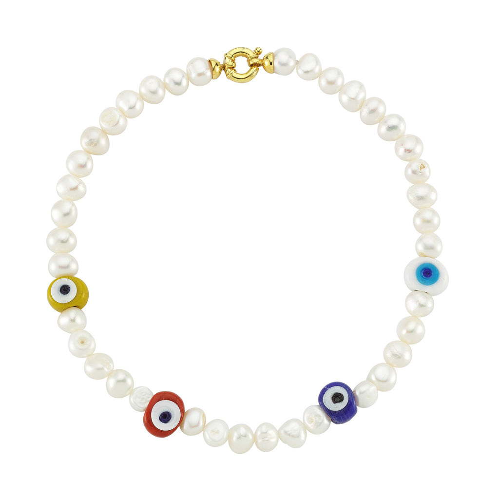 Maisonirem Necklace Pearl Nazar Necklaces Pearl glass evil eye charm