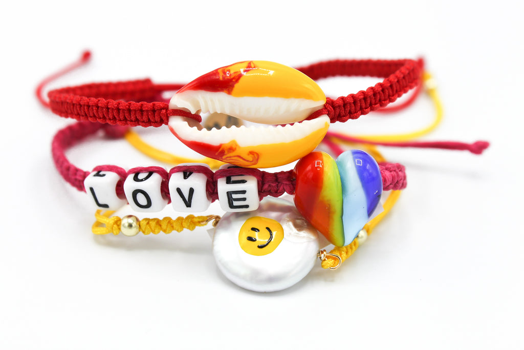 Maisonirem Set smiley Bracelets Mix colors