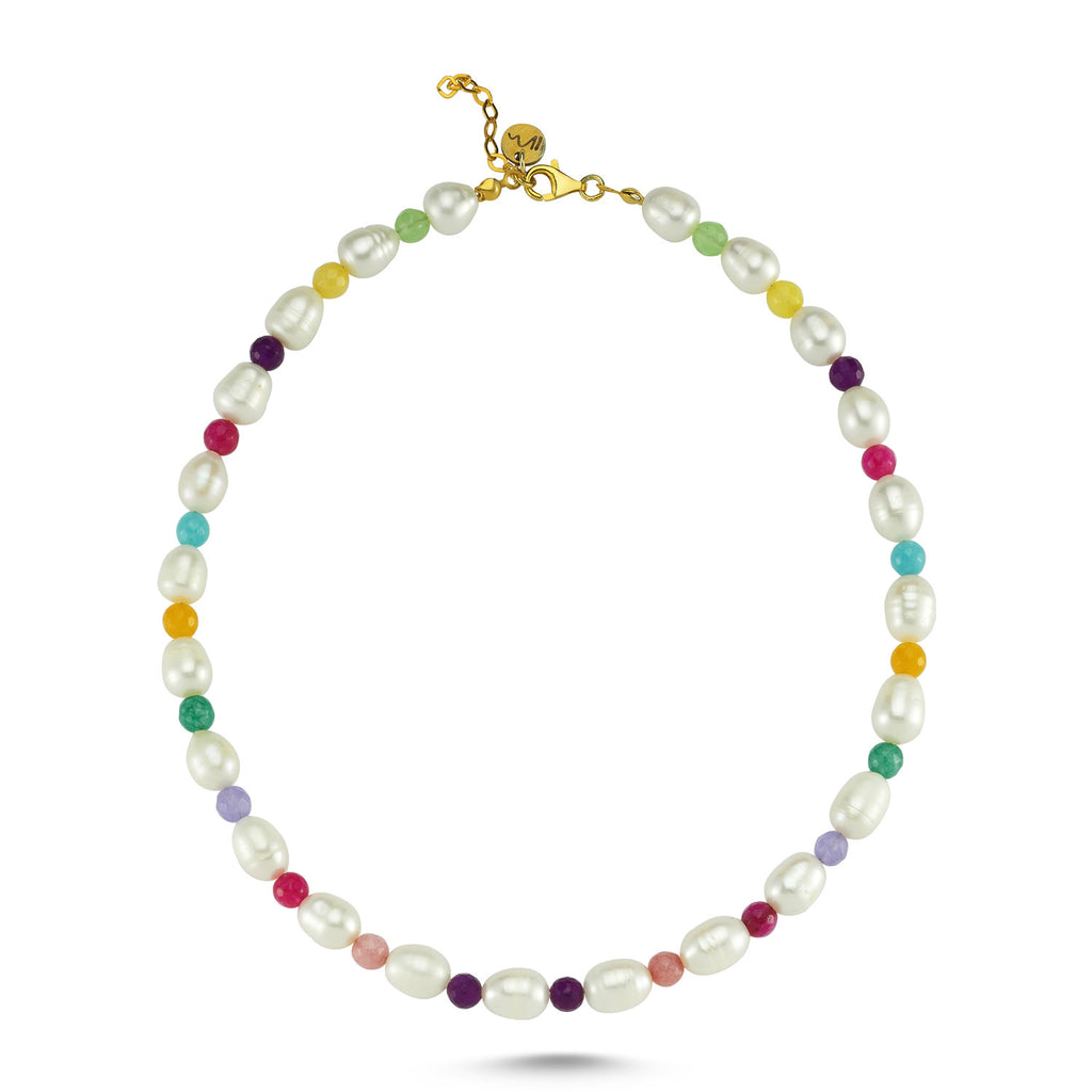 Maisonirem Pearl Necklace Rainbow Necklaces Pearl / colorful beads