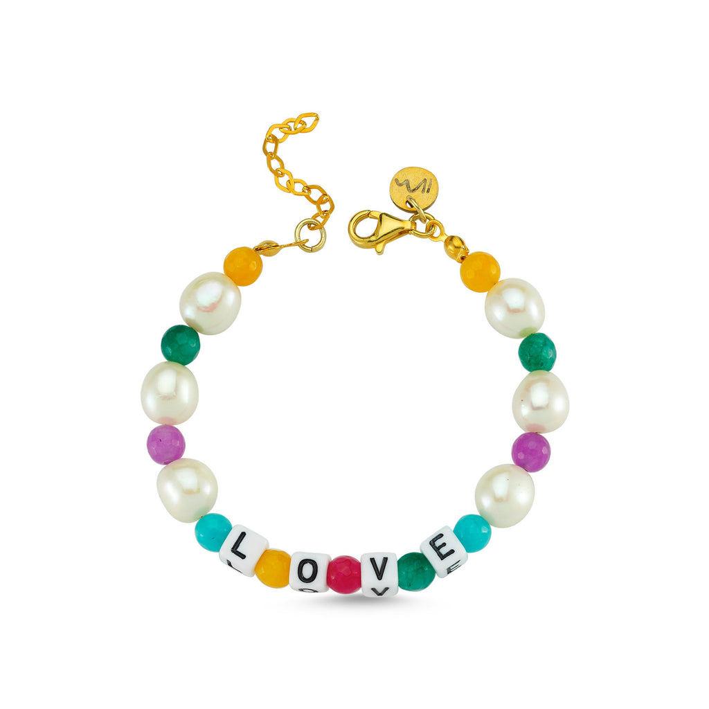Maisonirem Bracelet Rainbow Love Bracelets Pearl /colorful beads