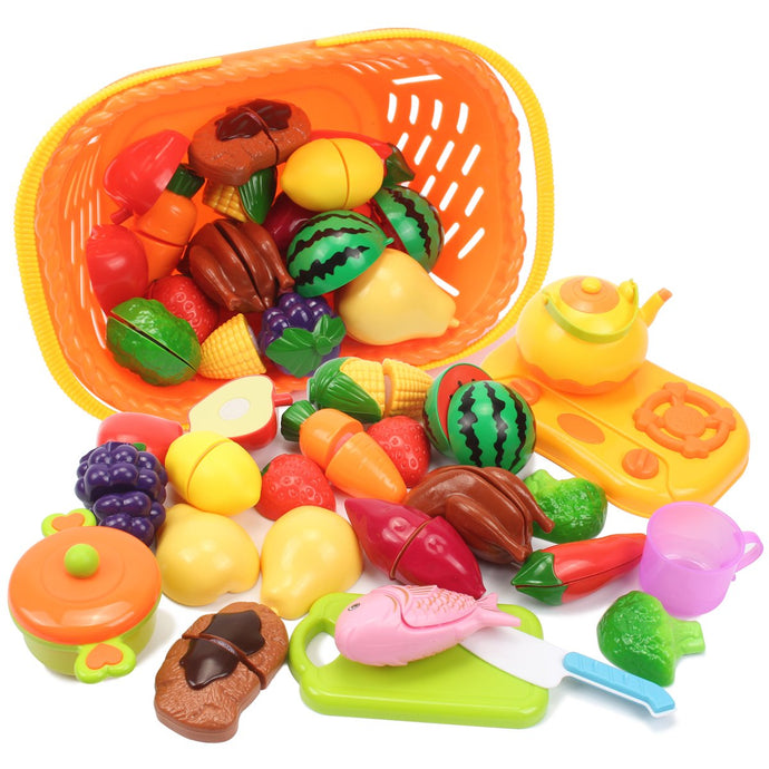 Pretend Play Food Set,AMOSTING 20 Piece Kids Play Kitchen Set,Cutting Fruits and Vegetables Educational Toys Cooking Set
