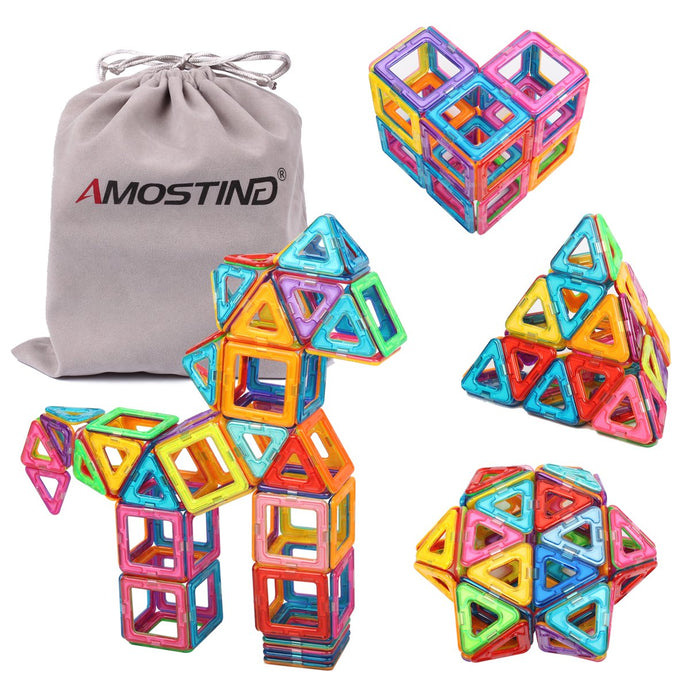 AMOSTING Magnetic Blocks Building Blocks Educational Toys Construction Stacking Toy-64 pcs