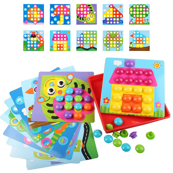 AMOSTING Color Matching Mosaic Pegboard Early Learning Educational Toys for Boys and Girls