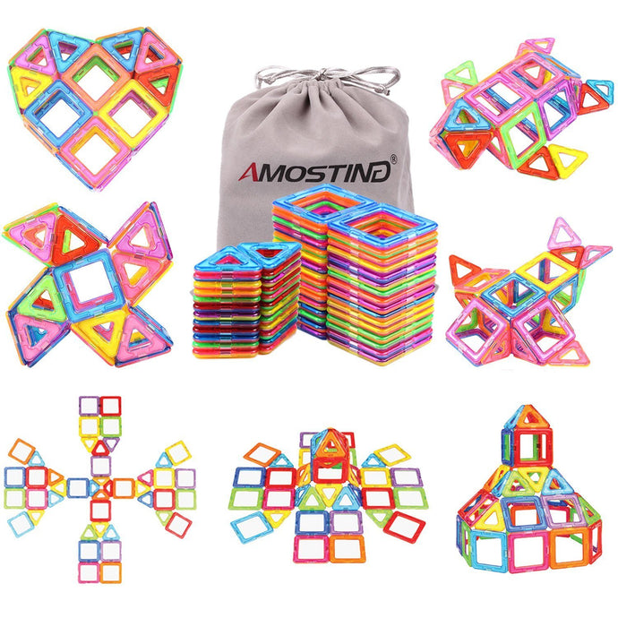 AMOSTING Magentic Building Tiles Building Blocks Educational Construction Building Toys for Boys and Girls Colorful Durable - 56 pcs